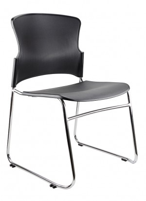 EVE STACKABLE CHAIR BLACK PU  (price excludes gst)