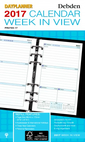 2019 DAY PLANNER REFILL WEEKLY DATED PR-2700 (price excludes gst)