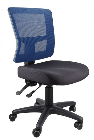 TOLEDO TYPIST BLACK CHAIR SEAT, BLUE MESH BACK  (price excludes gst)