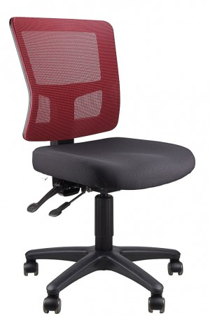 TOLEDO TYPIST BLACK CHAIR SEAT, RED MESH BACK  (price excludes gst)