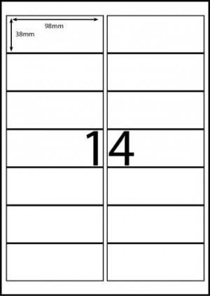 REDIFORM COPIER/LASER LABELS RA4/14C (98x38)  (price excludes gst)