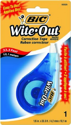 BIC WHITE OUT CORRECTION TAPE (Box 6) #50523  (price excludes gst)