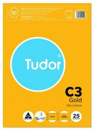 ENVELOPE 458mm x 324mm C3 TUDOR GOLD Peel N Seal 100gsm 140271 Pkt 25  (price excludes gst)