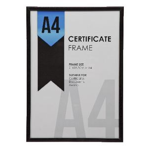 CERTIFICATE FRAME A4 BLACK PLASTIC FRAME (price excludes GST)