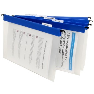MARBIG COLOURED PP SUSPENSION FILE CLEAR / BLUE #8201301  (price excludes GST)
