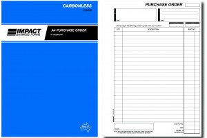 IMPACT CARBONLESS PURCHASE ORDER BOOK A4 DUP. CS-490 (price excludes gst)