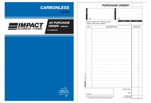 IMPACT CARBONLESS PURCHASE ORDER BOOK UPRIGHT A5 DUP. CS-510 (price excludes gst)