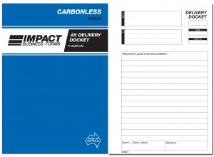 IMPACT CARBONLESS DELIVERY DOCKET BOOK A5 DUP. CS-530 (price excludes gst)