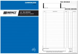 IMPACT CARBONLESS TAX INVOICE BOOK A4 DUP. CS-600 (price excludes gst)