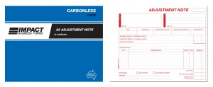 IMPACT CARBONLESS ADJUSTMENT BOOK A5 TRIP. CS-630 (price excludes gst)