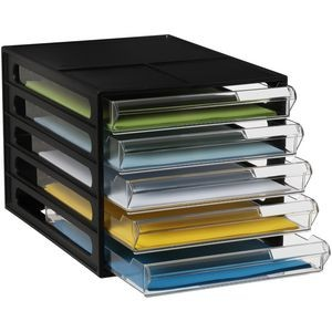 DESKTOP FILE STORAGE ORGANISER 5 DRAWER BLACK (price excludes gst)