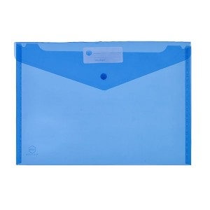 PVC DOCULOPE A4 WALLET WITH BUTTON BLUE