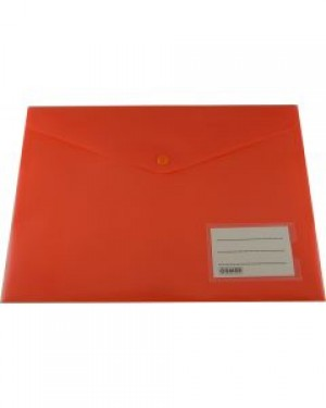 PVC DOCULOPE A4 WALLET WITH BUTTON BRIGHT ORANGE