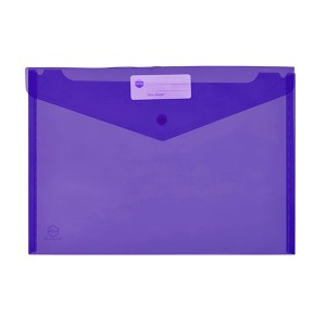 PVC DOCULOPE A4 WALLET WITH BUTTON PURPLE