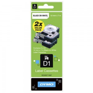 DYMO D1 TWIN PACK LABEL TAPE 12mm 45013 BLACK ON WHITE (price excludes gst)