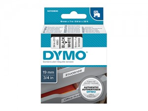 DYMO D1 LABEL TAPE 19mm x 7m 45803 / S0720830 BLACK ON WHITE