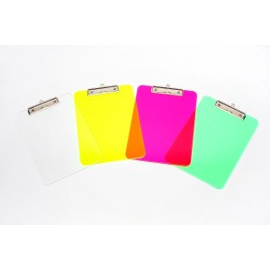 PVC CLIPBOARD A4 FLURO CLEAR  43100 (price excludes gst)