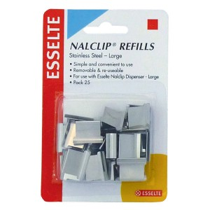 NALCLIP REFILLS LARGE S/STEEL #45201 (PKT 25) (price excludes gst)