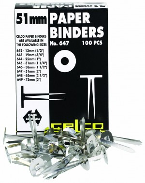 CELCO PAPER BINDERS 50mm #647 Box 100 (price excludes gst)