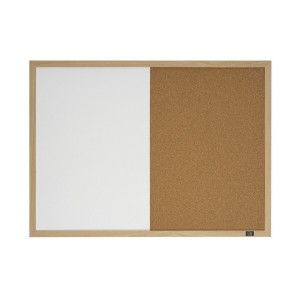 COMBINATION WHITE/CORK BOARD ECONOMY (PINE FRAME) 900mm x 600mm (price excludes gst)