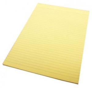 RULED OFFICE PAD A4 YELLOW (price excludes gst)