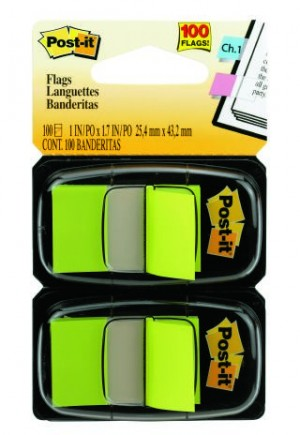 POST-IT TAPE FLAG TWIN PACK #680-BG2 BRIGHT GREEN (price excludes gst)