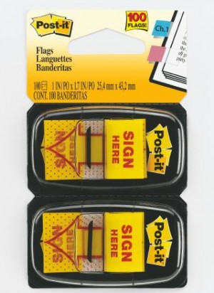 POST-IT TAPE FLAG TWIN PACK #680-SH2 SIGN HERE