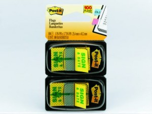POST-IT TAPE FLAG TWIN PACK #680-SD2 SIGN & DATE (price excludes gst)