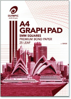 GRAPH PAD A4 5mm OLYMPIC 25 LF #141373 (price excludes gst)