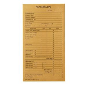 PAY ENVELOPES GOLD 90mm x 165mm PRINTED Box 500  (price excludes gst)