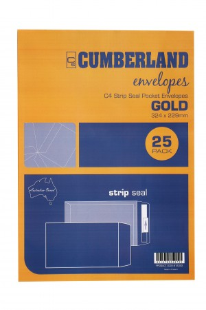 ENVELOPES Cumberland GOLD C4 324 x 229 Peel-n-Seal (Pkt 25) 912323 (price excludes gst)