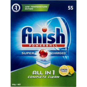 FINISH POWERBALL ALL-IN-1 DISHWASHING TABLETS LEMON BOX 55  (price excludes gst)