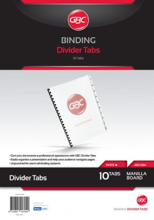 GBC UNPUNCHED TAB DIVIDERS 10 TAB A4 WHITE (price excludes gst)
