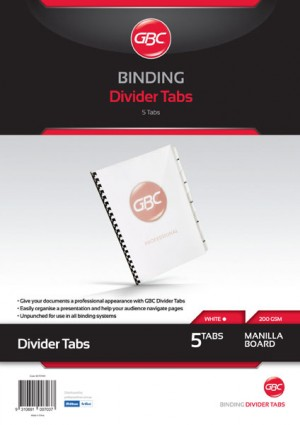 GBC UNPUNCHED TAB DIVIDERS 5 TAB A4 WHITE (price excludes gst)