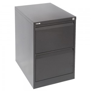 GO 2 DRAW METAL FILING CABINET BLACK (price excludes gst)