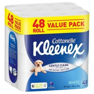TOILET TISSUE PAPER KLEENEX WOVEN WHITE 2 PLY Box 48  (price excludes gst)