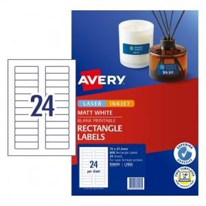 AVERY L7665 (72mm x 21mm) MINI RECTANGLE LABELS 959032 Pkt 25