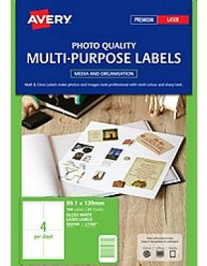 AVERY GLOSSY LASER LABEL L-7769 4 per sheet  Pkt 25  (price excludes gst)
