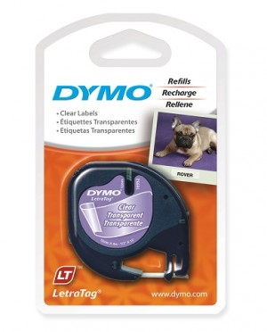 DYMO LetraTag PLASTIC LABEL TAPE 12mm BLACK ON CLEAR 12267  (price excludes gst)