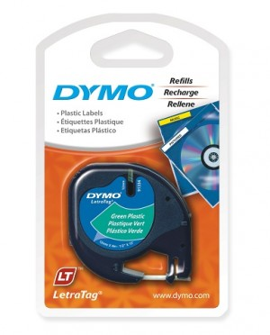 DYMO LetraTag PLASTIC LABEL TAPE 12mm BLACK ON GREEN 91204 (price excludes gst)