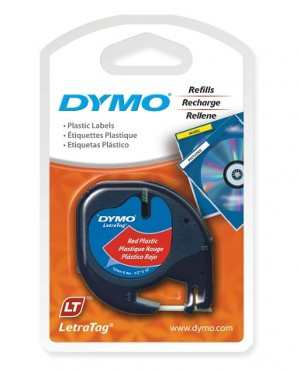 DYMO LetraTag PLASTIC LABEL TAPE 12mm BLACK ON RED 91203 (price excludes gst)