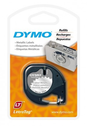 DYMO LetraTag MATALIC LABEL TAPE 12mm SILVER 91208 (price excludes gst)
