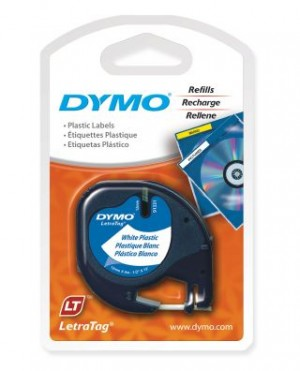 DYMO LetraTag PLASTIC LABEL TAPE 12mm BLACK ON WHITE 91201  (price excludes gst)