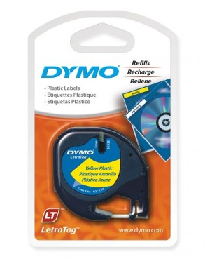 DYMO LetraTag PLASTIC LABEL TAPE 12mm BLACK ON YELLOW 91202  (price excludes gst)