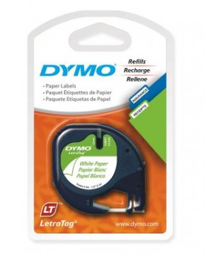 DYMO LetraTag PAPER LABEL TAPE 12mm BLACK ON WHITE 92630 PKT 2  (price excludes gst)