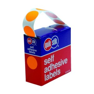 QUICK STIK LABEL DOTS MC24mm FLOURO ORANGE (PKT 350)  (price excludes gst)