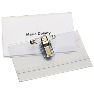 NAME BADGE 92mm x 60mm PIN & CLIP BOX 50  (price excludes gst)