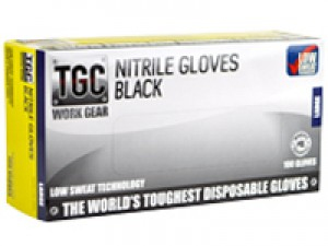TGC NITRILE GLOVES BLACK LARGE BOX 100  (price excludes gst)