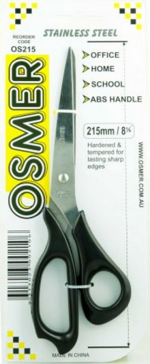 SCISSORS PLASTIC HANDLE 215mm STAINLESS STEEL OSMER  (price excludes gst)
