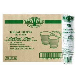 PLASTIC DRINK CUPS 180ml BOX 1000  (price excludes gst)